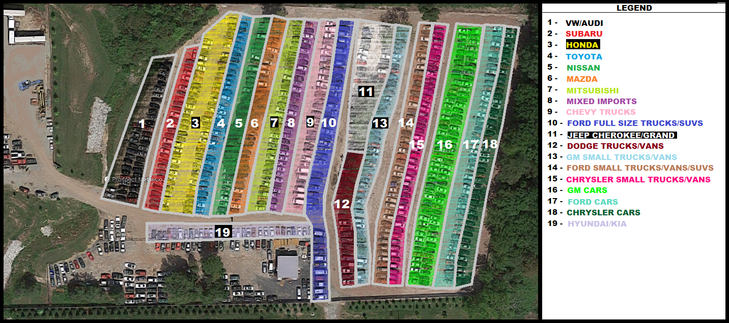Yard Map - Prospect Used Auto Parts
