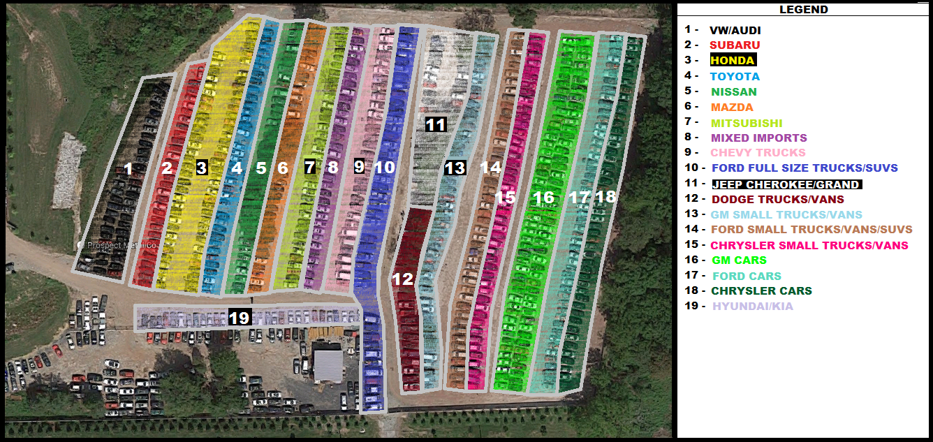 Color Coded Yard Map Update with outlined numbers
